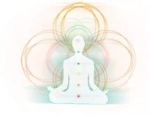 Outline of body with chakras and aura field