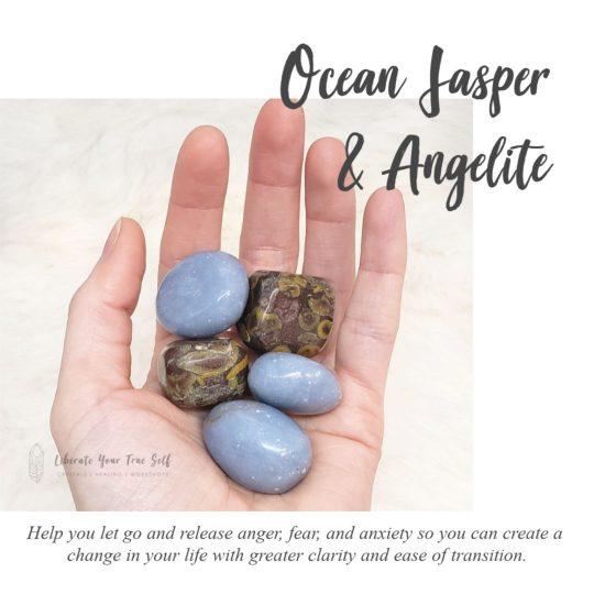 ocean jasper and angelite gemstones