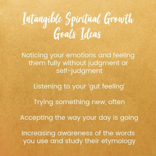 intangible spiritual growth goals ideas