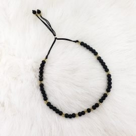 Adjustable Onyx Bracelet with Citrine