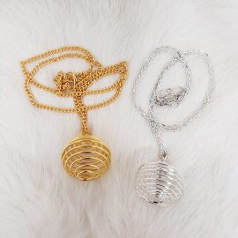 spiral cage necklace for tumble gemstone