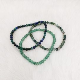 heart chakra bracelet set - Green Aventurine - Moss Agate - Azurite Malachite