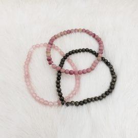 heart chakra bracelet - rose quartz - rhodonite- pyrite