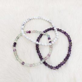 third eye chakra bracelet set - amethyst-howlite-fluorite