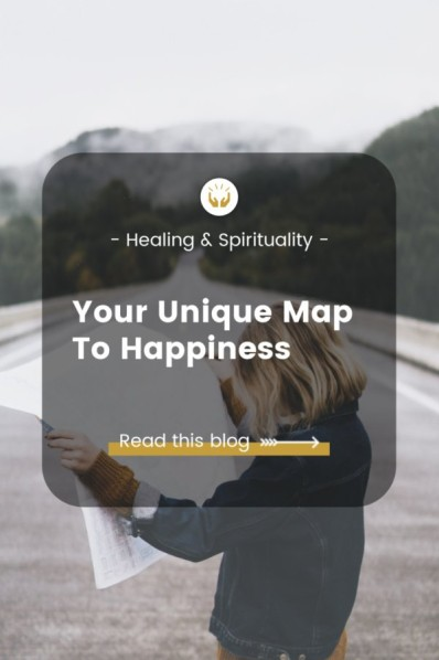 your unique map to happiness blog - woman looking at map